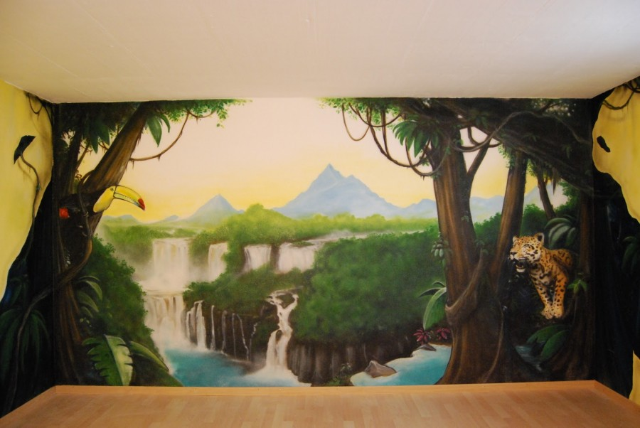 Graffiti fresco dekoration dschungel tiger art tukan fluss graffiti fresque et trompe l 39 oeil - Dekoration dschungel ...