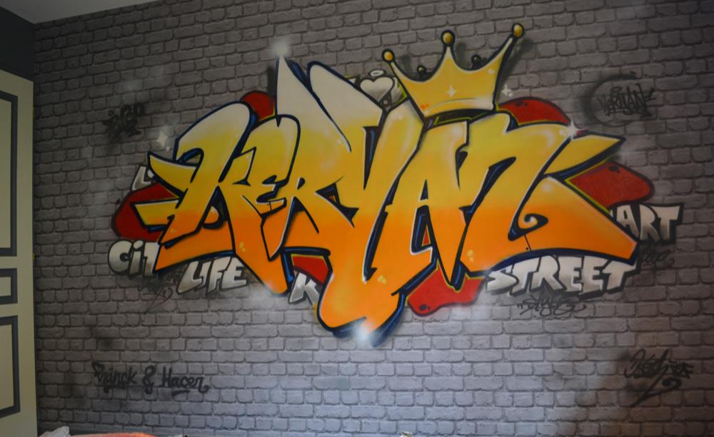 Graffiti gen ve pour une chambre d 39 enfant avec faux mur - Tag pour chambre ado ...