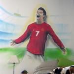 Graffiti dans la chambre d'un enfant passionné par le football et Cristiano Ronaldo à Genève.
